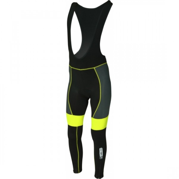 DEKO LEADER winter bib tights black/fluorescent ye...