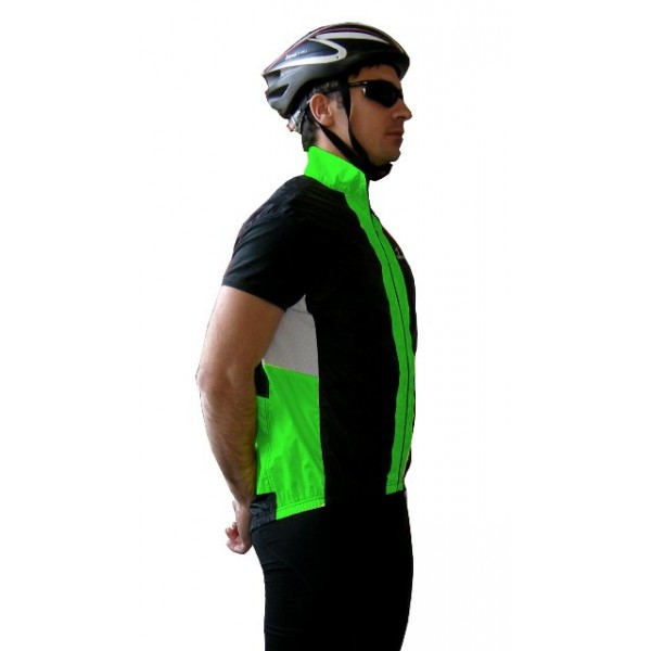 DEKO SHELL cycling gilet black/fluorescent green c...