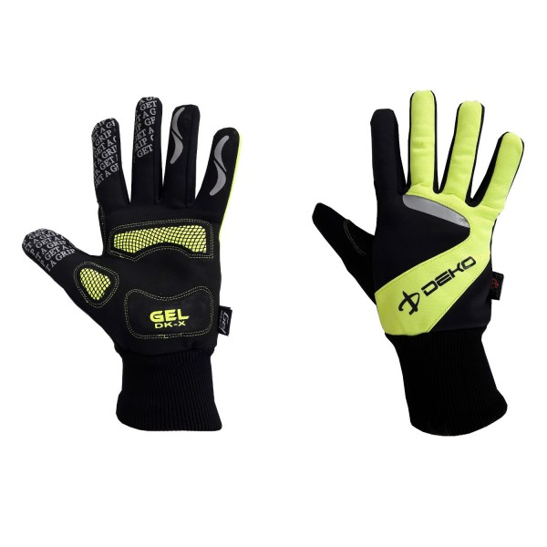 DEKO NEW VELVET winter gloves black/fluorescent yellow color