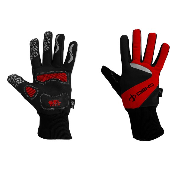 DEKO NEW VELVET winter gloves black/red color
